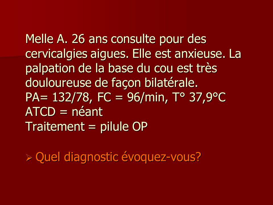 Melle A. 26 ans consulte pour des cervicalgies aigues