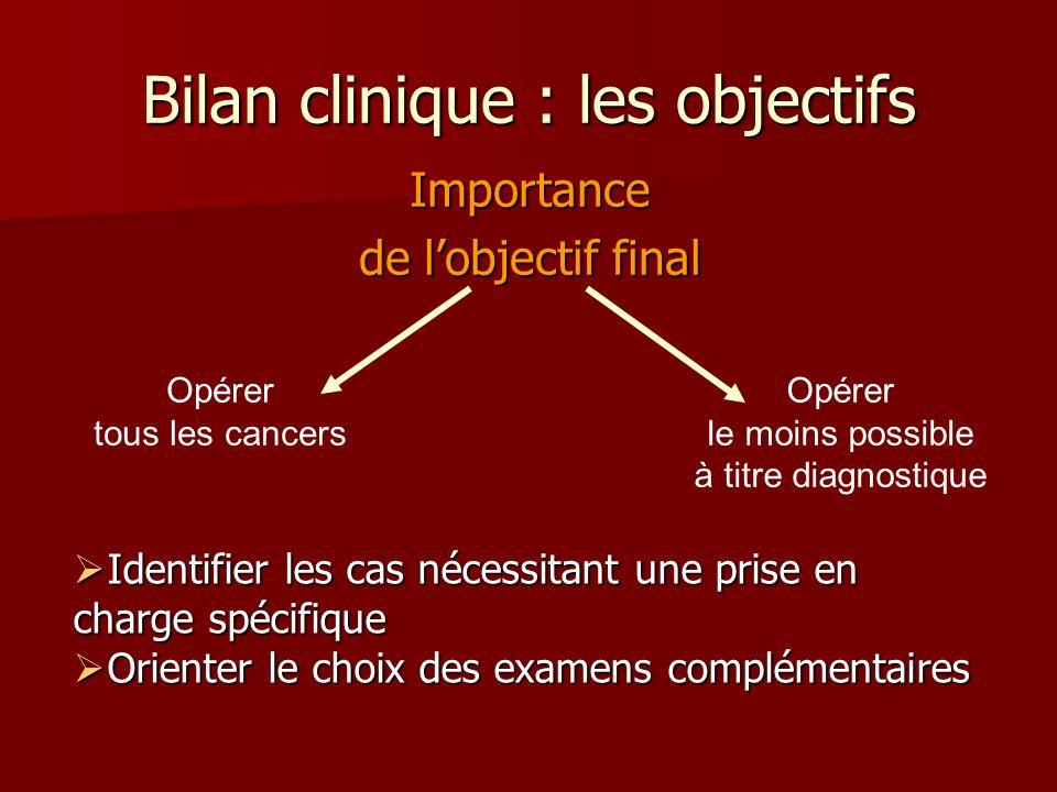 Bilan clinique : les objectifs