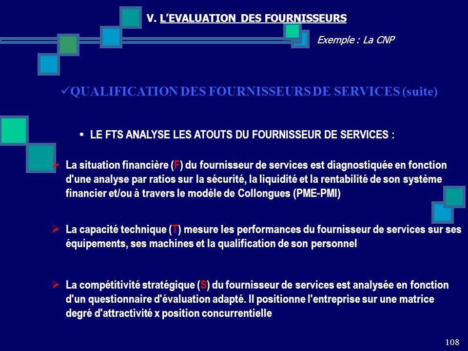 QUALIFICATION DES FOURNISSEURS DE SERVICES (suite)