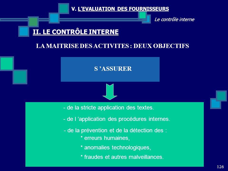 LA MAITRISE DES ACTIVITES : DEUX OBJECTIFS