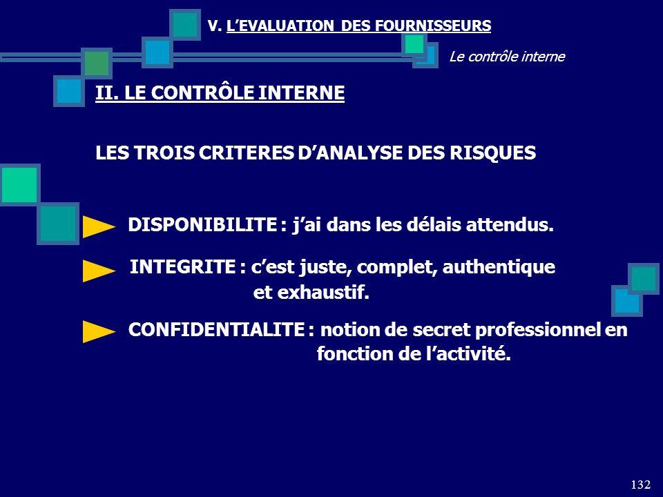 LES TROIS CRITERES D'ANALYSE DES RISQUES