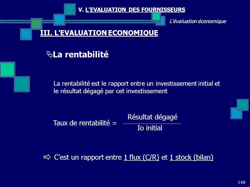 La rentabilité III. L'EVALUATION ECONOMIQUE Résultat dégagé