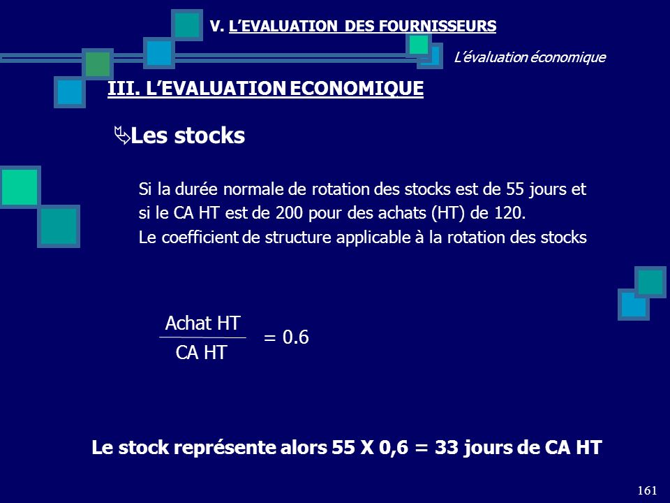 Les stocks III. L'EVALUATION ECONOMIQUE Achat HT = 0.6 CA HT