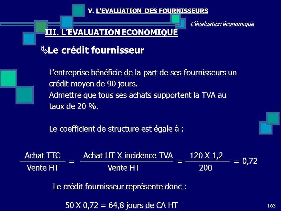 Le crédit fournisseur III. L'EVALUATION ECONOMIQUE
