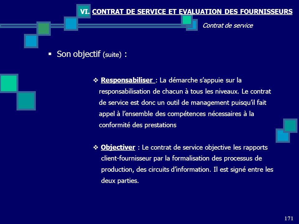 VI. CONTRAT DE SERVICE ET EVALUATION DES FOURNISSEURS