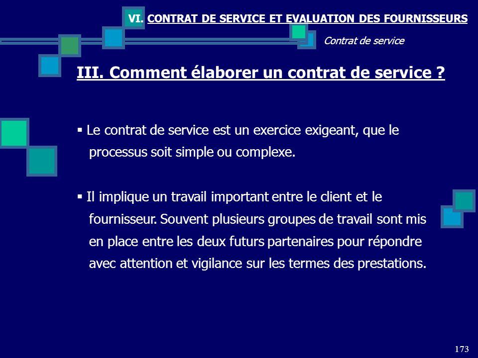 III. Comment élaborer un contrat de service