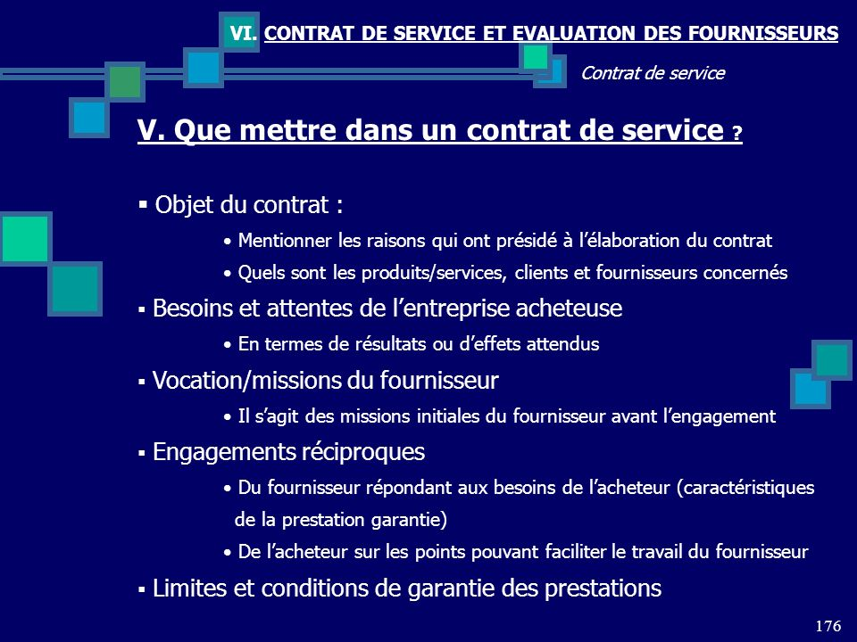 V. Que mettre dans un contrat de service