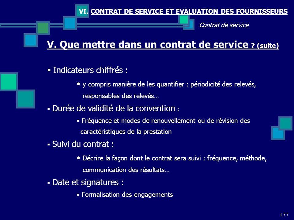 V. Que mettre dans un contrat de service (suite)