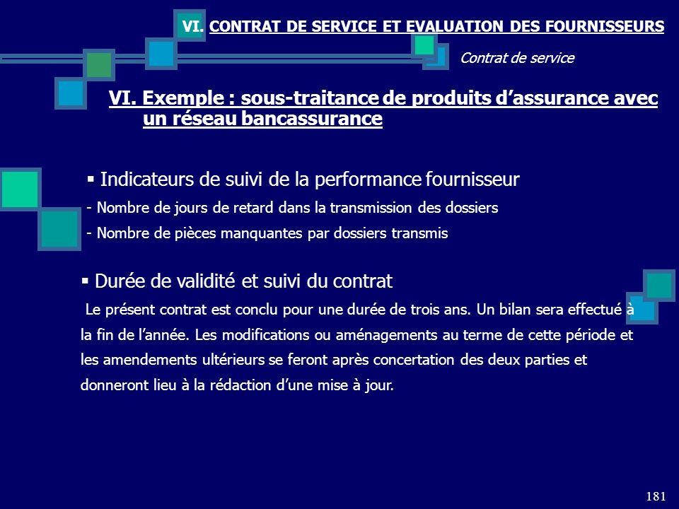 Indicateurs de suivi de la performance fournisseur