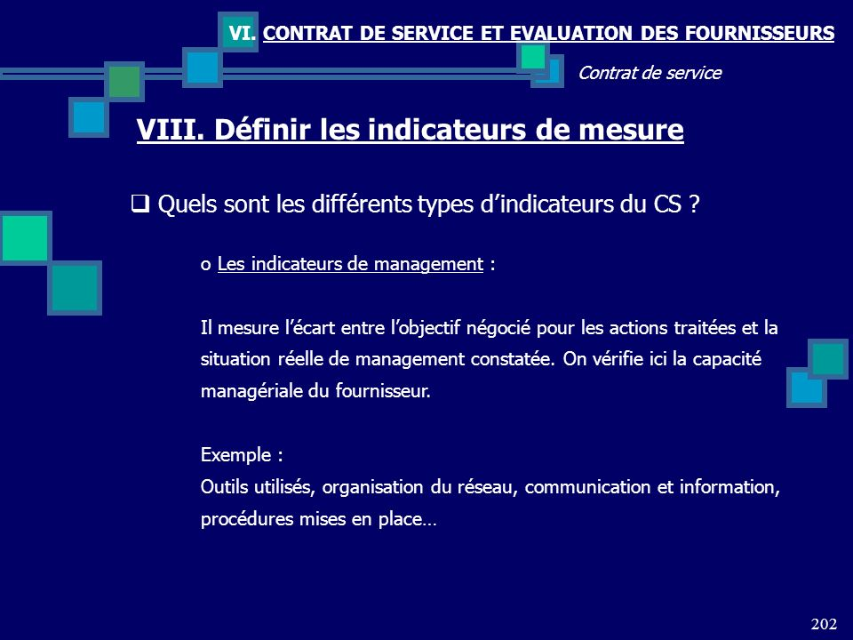 VIII. Définir les indicateurs de mesure