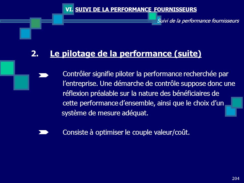 Le pilotage de la performance (suite)