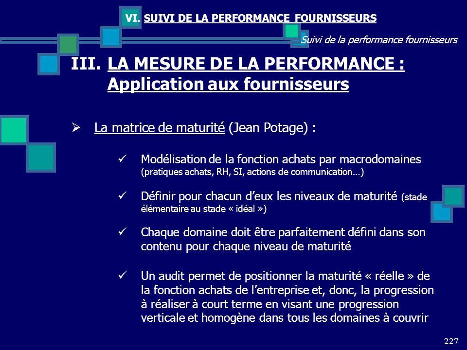 LA MESURE DE LA PERFORMANCE : Application aux fournisseurs