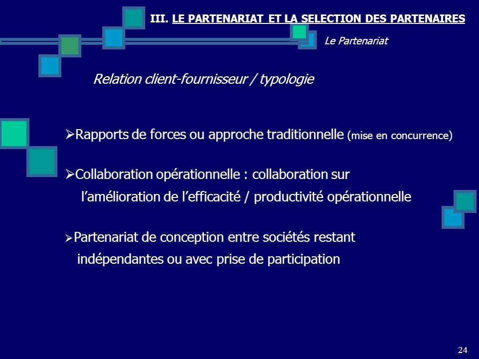Relation client-fournisseur / typologie