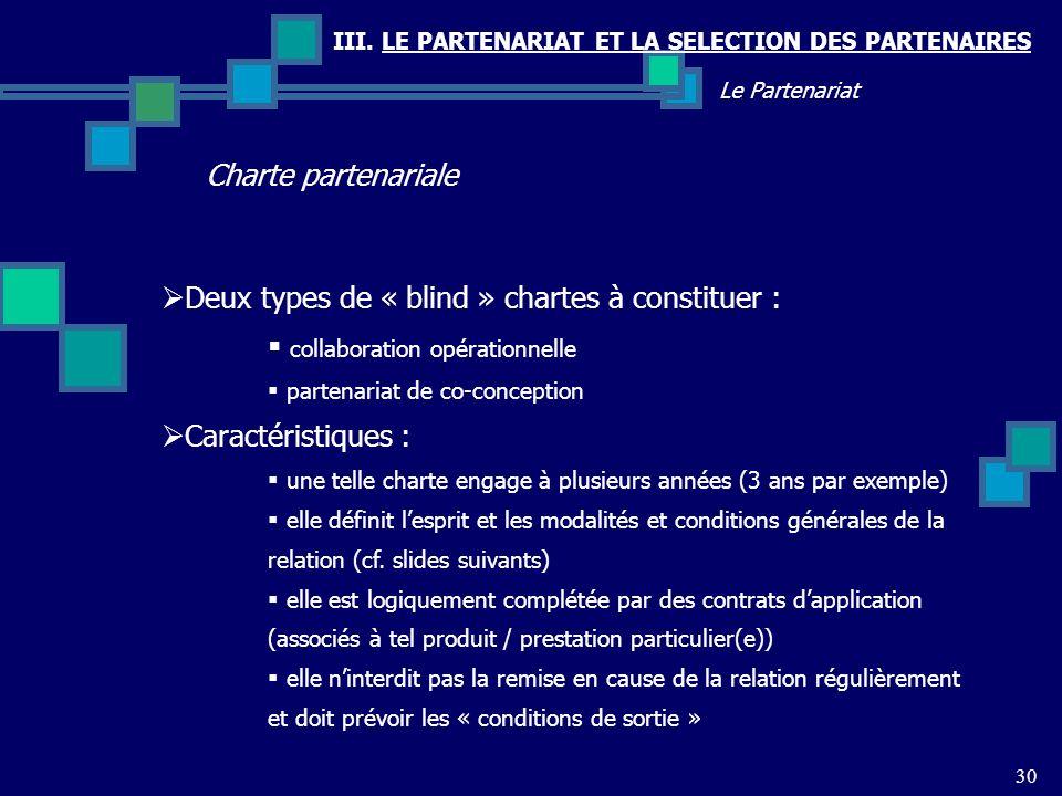 Deux types de « blind » chartes à constituer :
