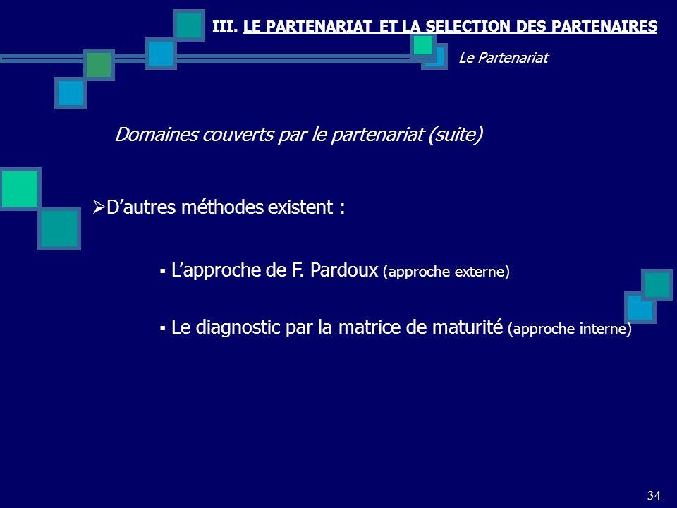 Domaines couverts par le partenariat (suite)