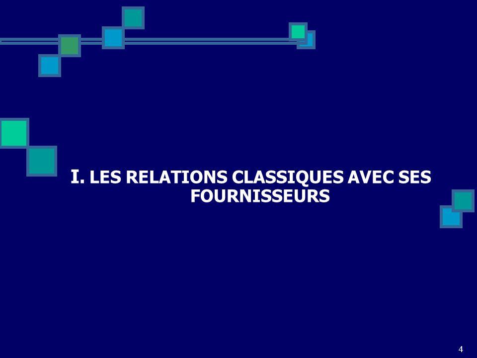 LES RELATIONS CLASSIQUES AVEC SES FOURNISSEURS
