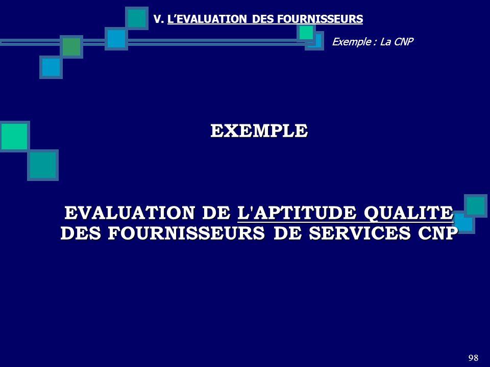 EVALUATION DE L APTITUDE QUALITE DES FOURNISSEURS DE SERVICES CNP