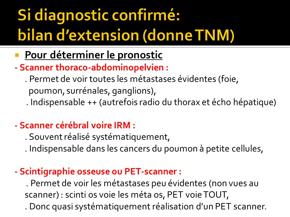Si diagnostic confirmé: bilan d'extension (donne TNM)