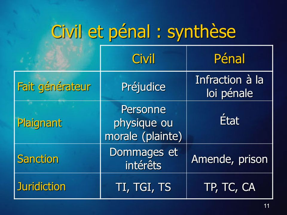 Civil et pénal : synthèse