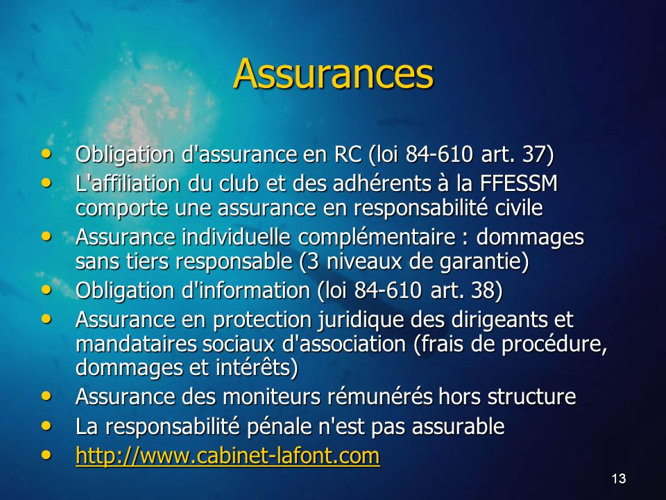 Assurances Obligation d assurance en RC (loi 84-610 art. 37)