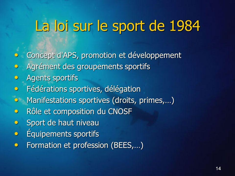 La loi sur le sport de 1984 Concept d APS, promotion et développement