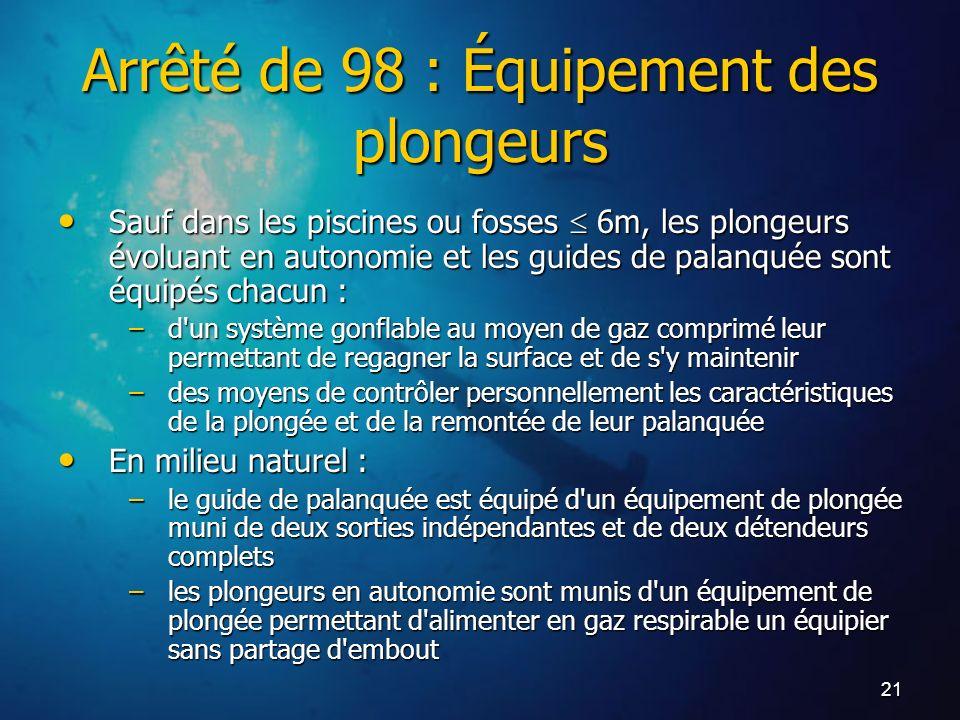 Arrêté de 98 : Équipement des plongeurs