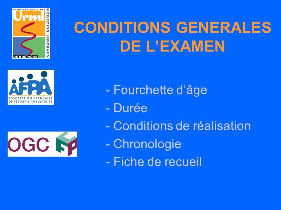 CONDITIONS GENERALES DE L'EXAMEN