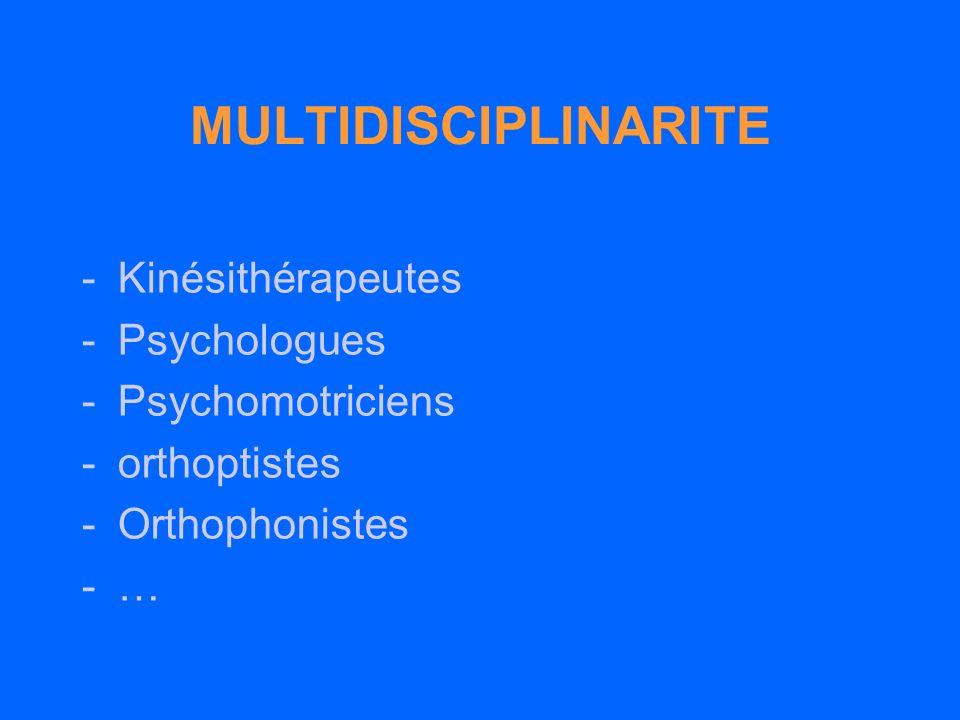 MULTIDISCIPLINARITE Kinésithérapeutes Psychologues Psychomotriciens