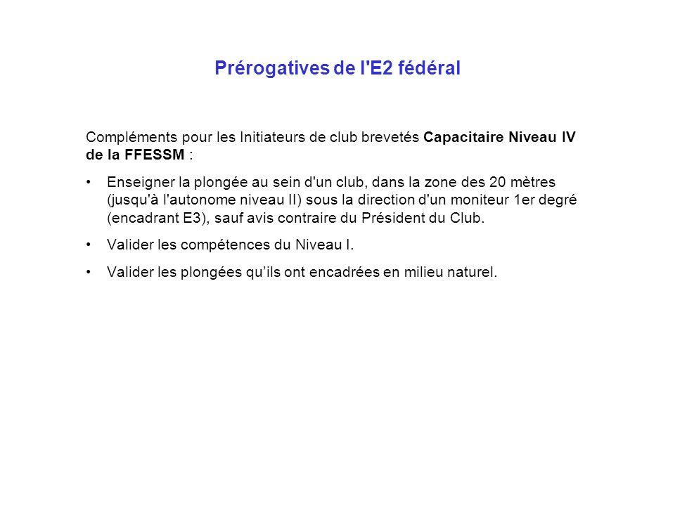 Prérogatives de l E2 fédéral