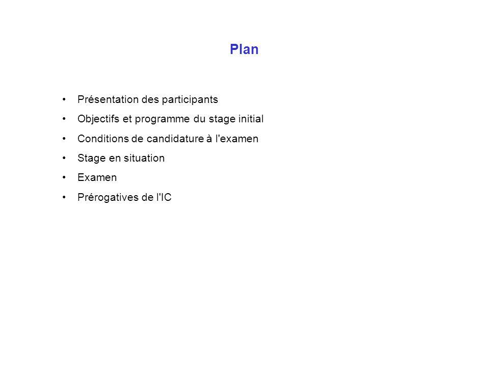 Plan Présentation des participants
