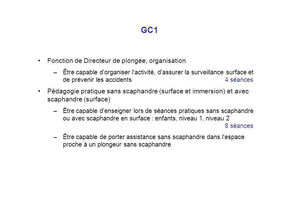 GC1 Fonction de Directeur de plongée, organisation