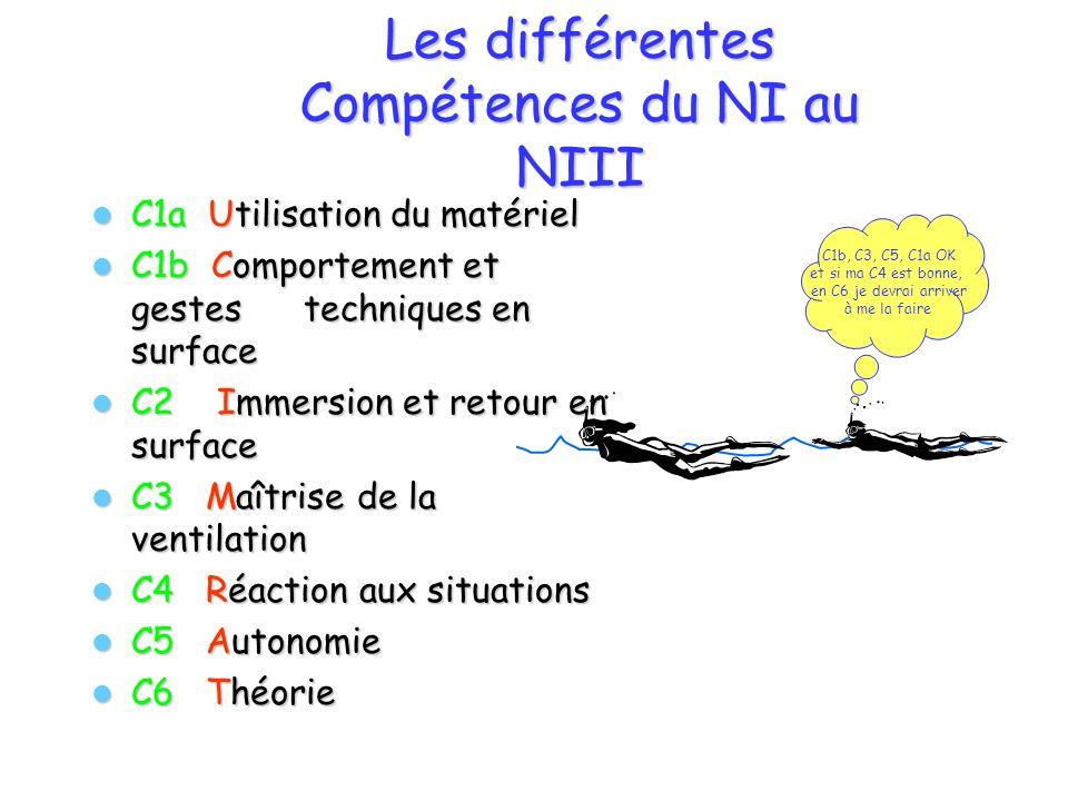 Les différentes Compétences du NI au NIII