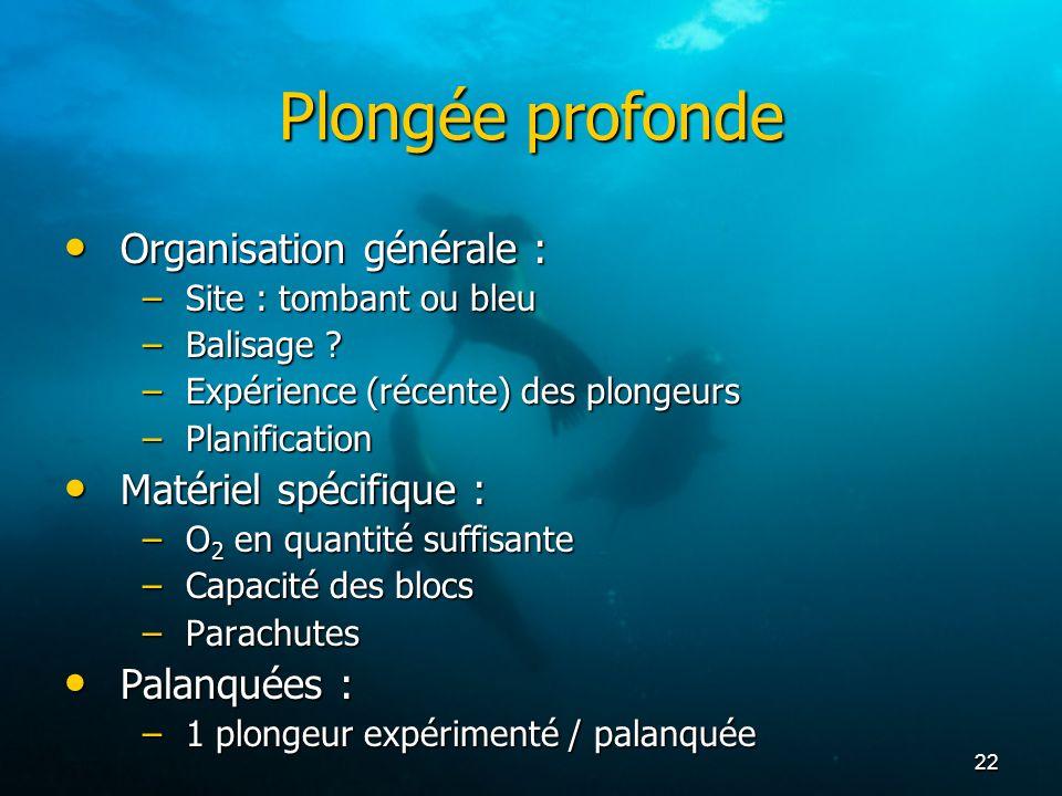 Plongée profonde Organisation générale : Matériel spécifique :