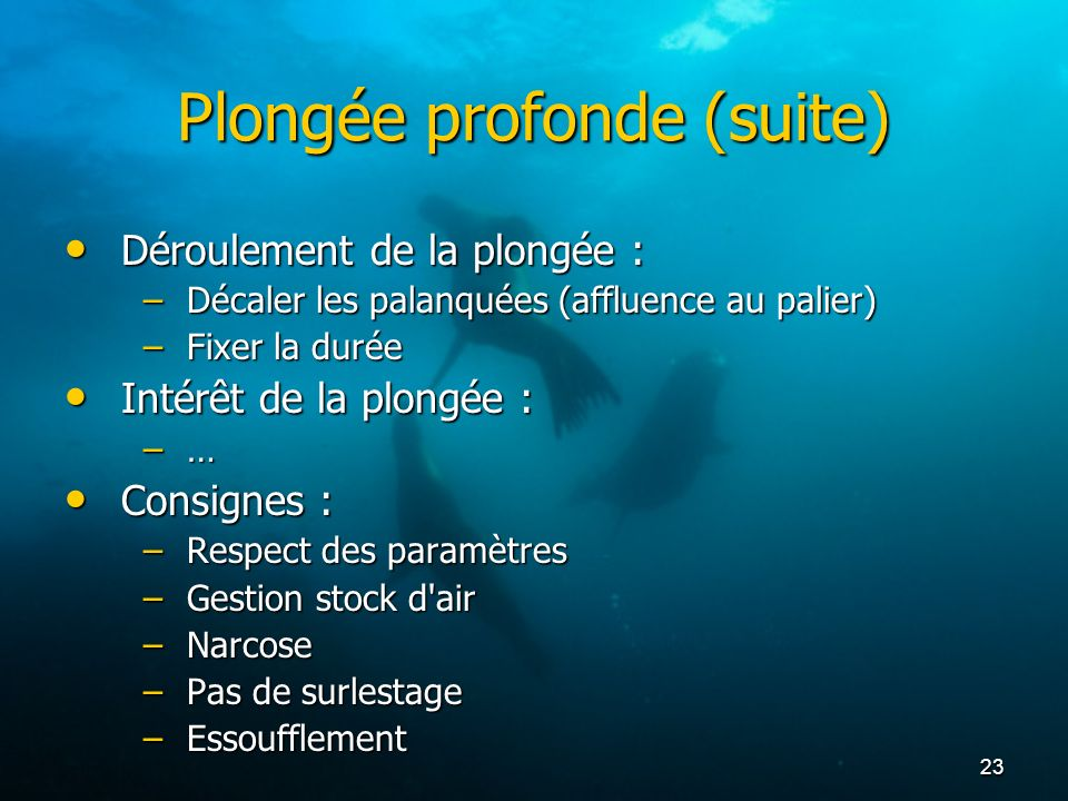 Plongée profonde (suite)