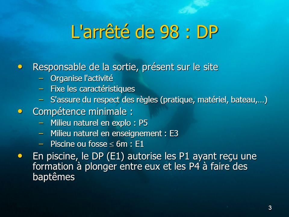 L arrêté de 98 : DP Responsable de la sortie, présent sur le site