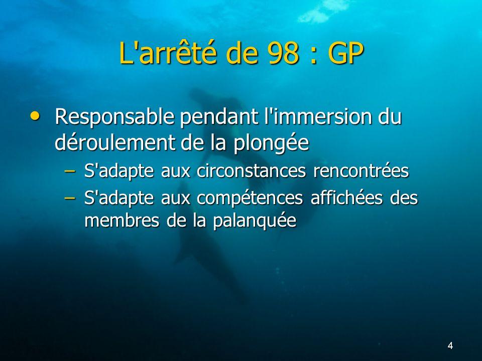 L arrêté de 98 : GP Responsable pendant l immersion du déroulement de la plongée. S adapte aux circonstances rencontrées.