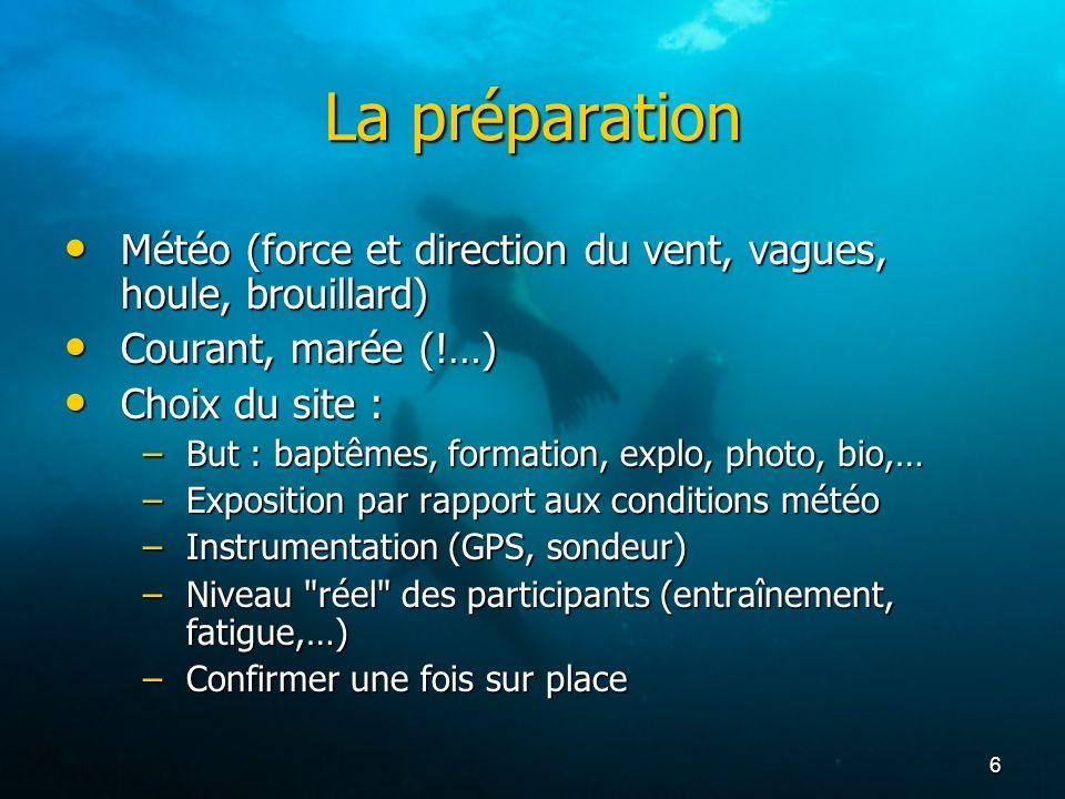 La préparation Météo (force et direction du vent, vagues, houle, brouillard) Courant, marée (!…) Choix du site :