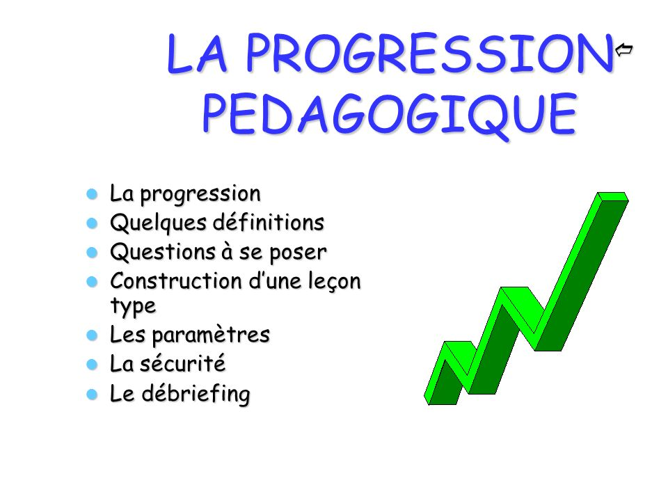 LA PROGRESSION PEDAGOGIQUE