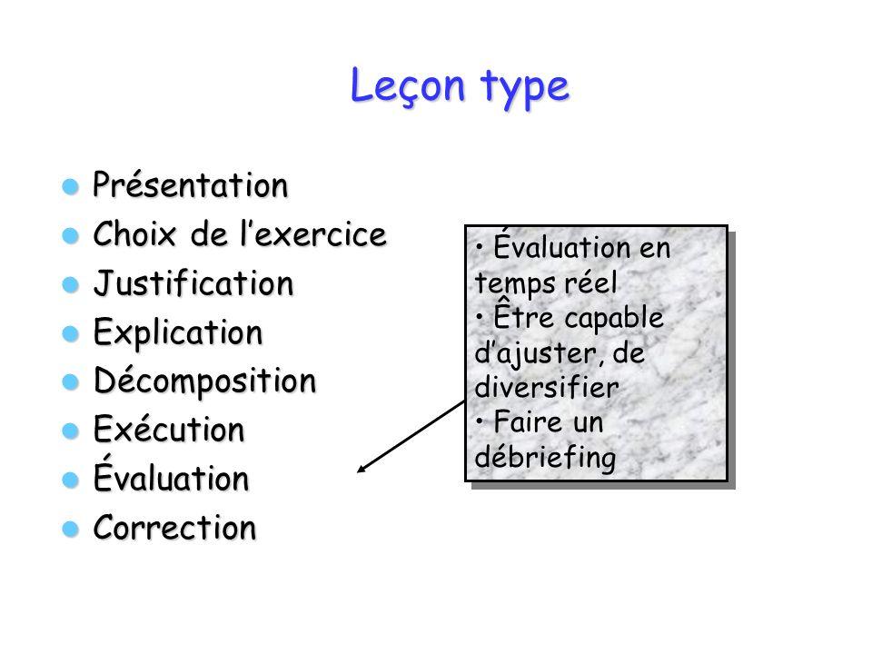 Leçon type Présentation Choix de l'exercice Justification Explication