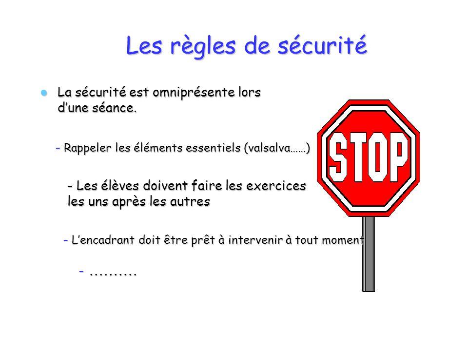 Les règles de sécurité La sécurité est omniprésente lors d'une séance.