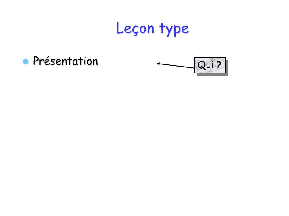 Leçon type Présentation Qui