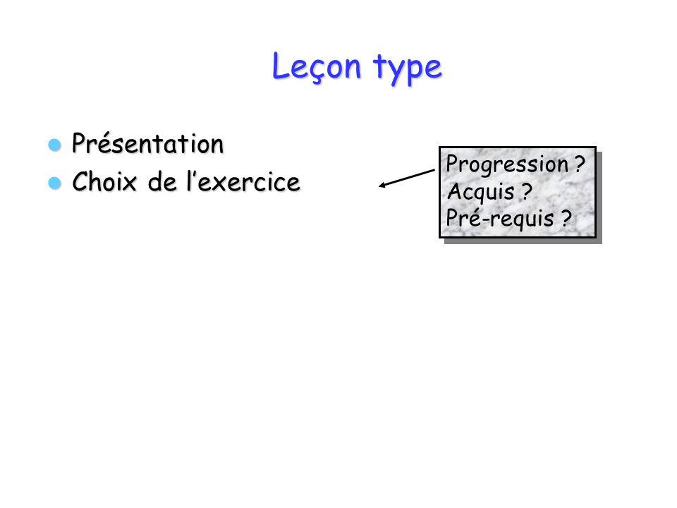 Leçon type Présentation Choix de l'exercice Progression Acquis