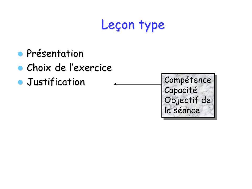 Leçon type Présentation Choix de l'exercice Justification Compétence