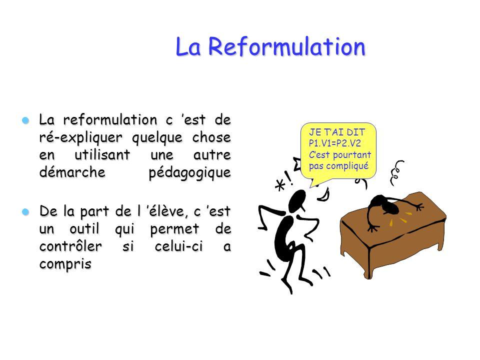 La Reformulation La reformulation c 'est de ré-expliquer quelque chose en utilisant une autre démarche pédagogique.