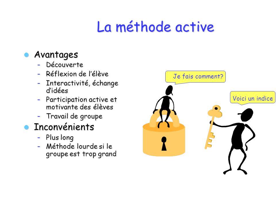 La méthode active Avantages Inconvénients Découverte