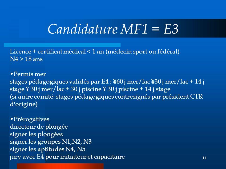 Candidature MF1 = E3 Licence + certificat médical < 1 an (médecin sport ou fédéral) N4 > 18 ans.