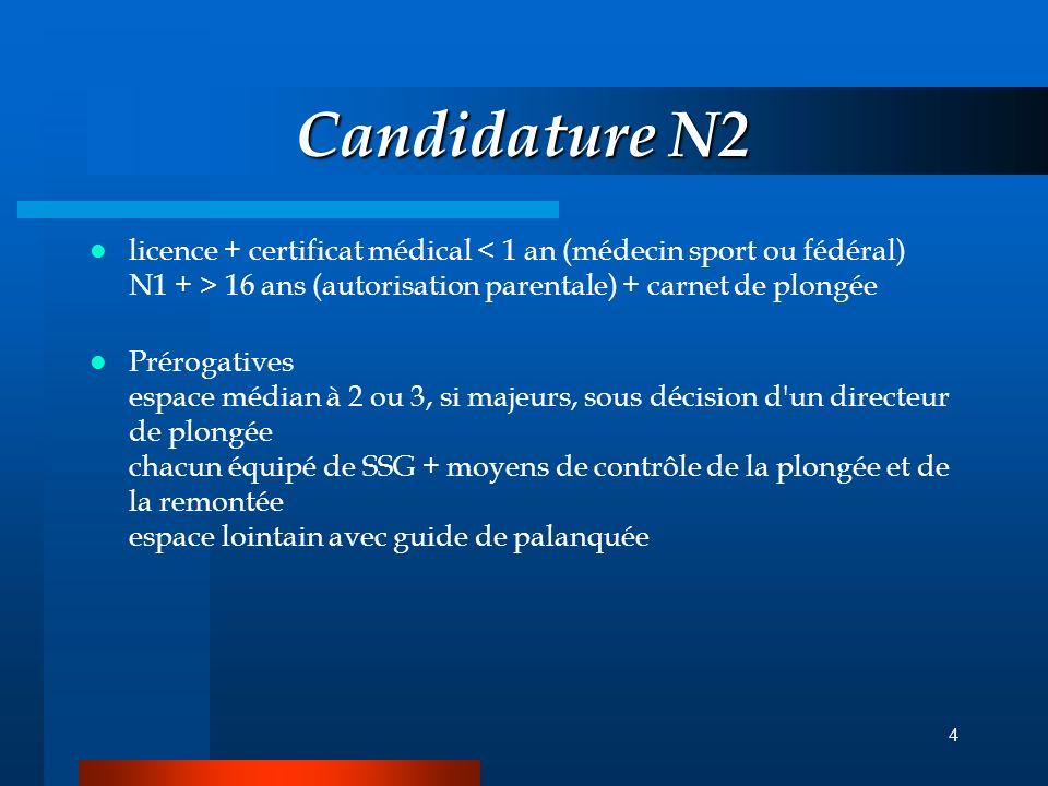 Candidature N2 licence + certificat médical < 1 an (médecin sport ou fédéral) N1 + > 16 ans (autorisation parentale) + carnet de plongée.