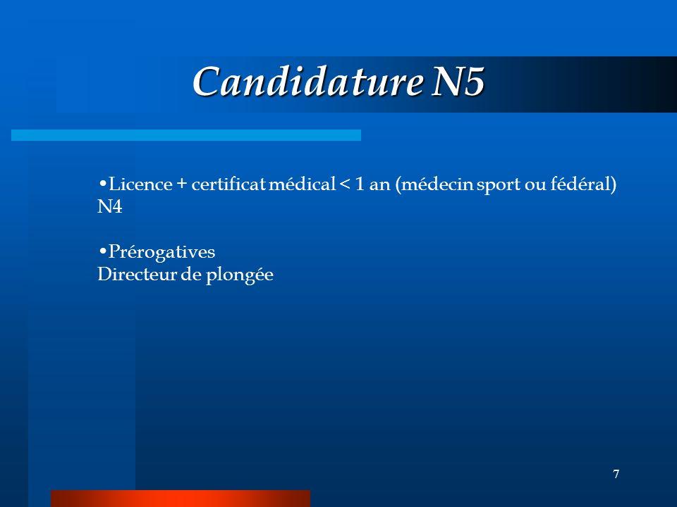 Candidature N5 Licence + certificat médical < 1 an (médecin sport ou fédéral) N4.