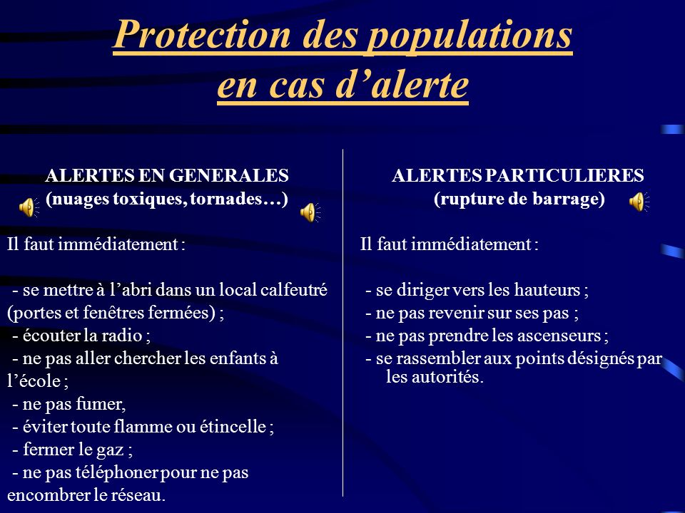 Protection des populations en cas d'alerte