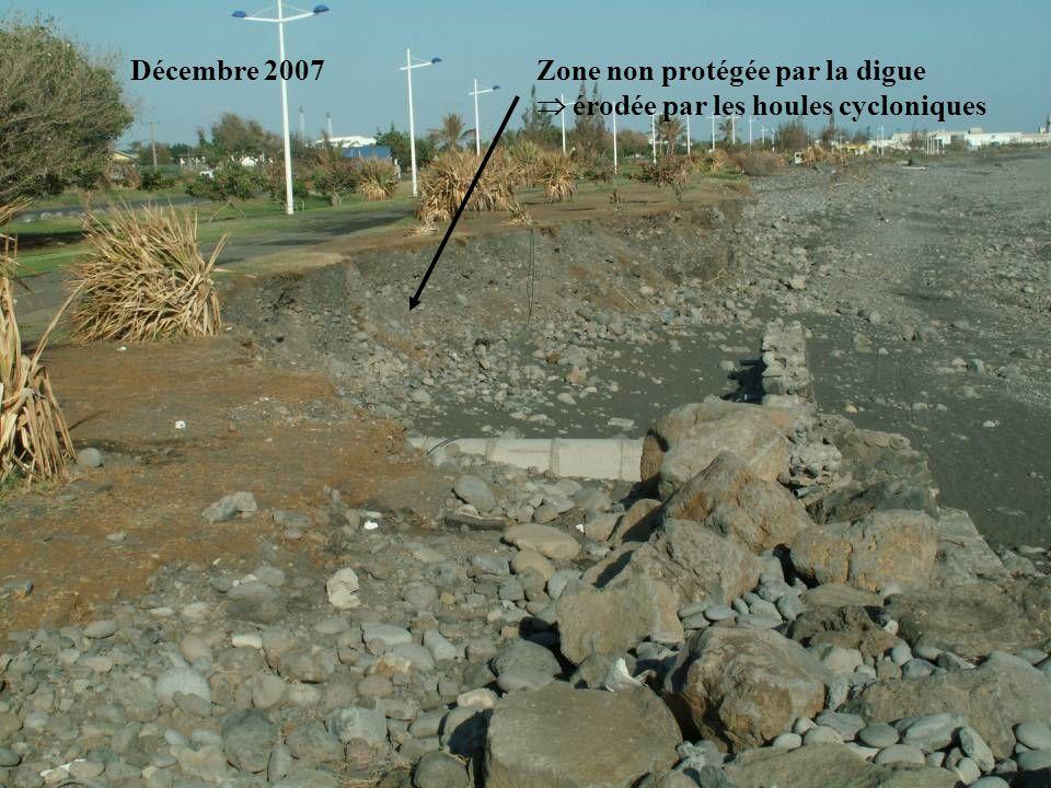 Décembre 2007 Zone non protégée par la digue  érodée par les houles cycloniques